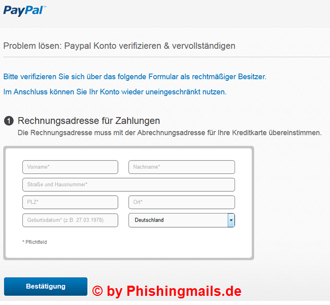 Das Problem: Ihr Paypal Sperrung - Fake